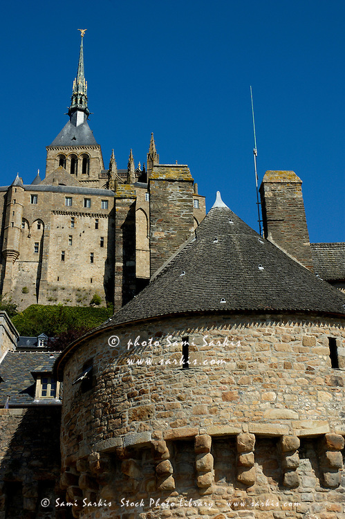 Ramparts of Mont Saint-Michel, a fortified medieval monastery on an island in Normandy, France.