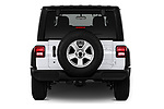 Straight rear view of a 2018 Jeep Wrangler Unlimited Sport 5 Door SUV stock images