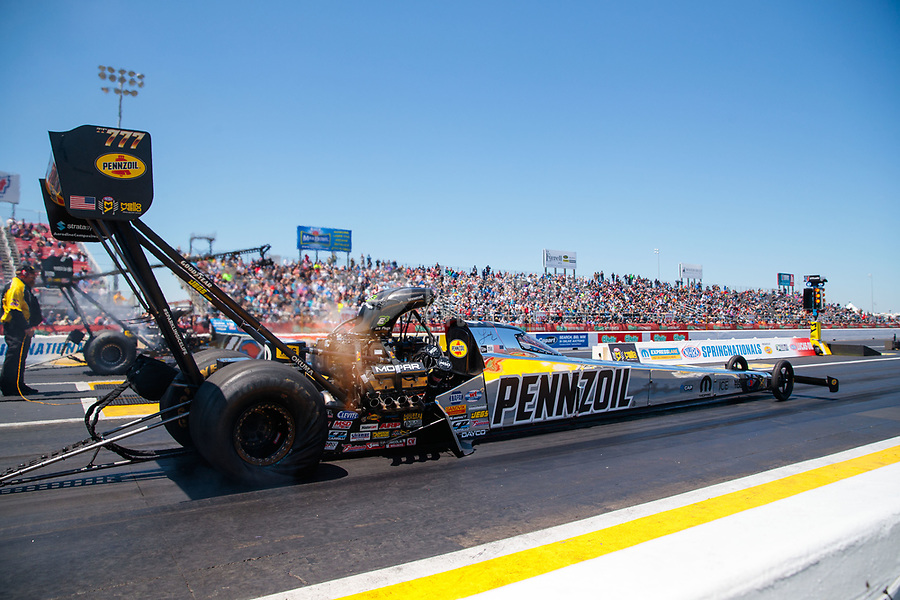 Apr 14, 2019; Baytown, TX, USA; NHRA top fuel driver Leah Pritchett during the Springnationals at Houston Raceway Park. Mandatory Credit: Mark J. Rebilas-USA TODAY Sports