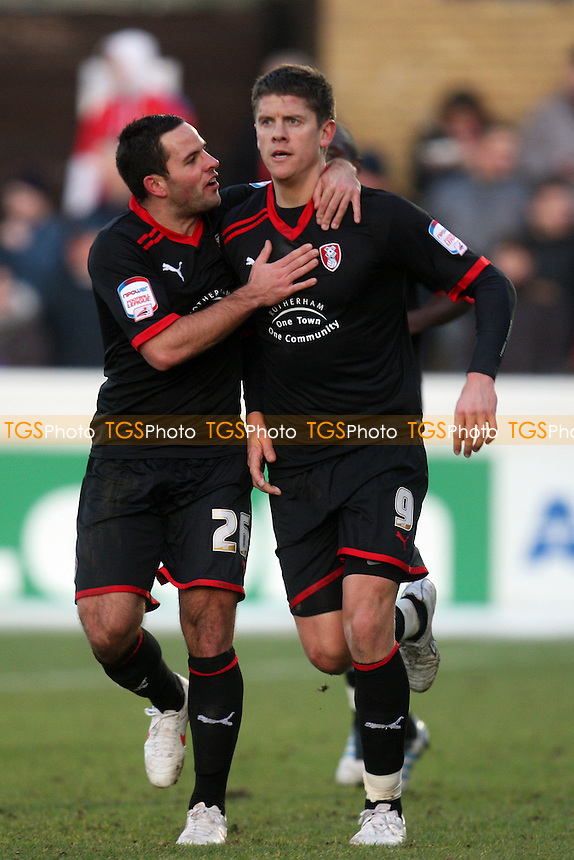 second goal scorer Alex Revell of Rotherham United is congratulated by Sam Wood -  Dagenham and Redbridge vs Rotherham United - at the Barking and Dagenham Stadium - 28/01/12 - MANDATORY CREDIT: Dave Simpson/TGSPHOTO - Self billing applies where appropriate - 0845 094 6026 - contact@tgsphoto.co.uk - NO UNPAID USE.