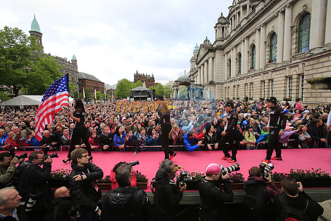 Trek Factory Racing team arrive onto stage at the Team Presentation Ceremony held at City Hall in Belfast before the start of 2014 Giro d'Italia.8th May 2014.<br /> Picture: Eoin Clarke www.newsfile.ie