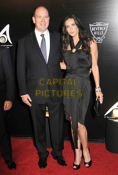 PRINCE ALBERT II OF MONACO & DEMI MOORE.The 2009 Rodeo Walk of Style Awards held at Rodeo Dr. in Beverly Hills, California, USA..October 22nd, 2009.full length black suit dress peep toe shoes clutch bag .CAP/RKE/DVS.©DVS/RockinExposures/Capital Pictures.
