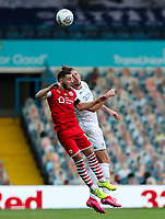 Barnsley's Conor Chaplin vies for possession with Leeds United's Luke Ayling<br /> <br /> Photographer Alex Dodd/CameraSport<br /> <br /> The EFL Sky Bet Championship - Leeds United v Barnsley - Thursday 16th July 2020 - Elland Road - Leeds<br /> <br /> World Copyright © 2020 CameraSport. All rights reserved. 43 Linden Ave. Countesthorpe. Leicester. England. LE8 5PG - Tel: +44 (0) 116 277 4147 - admin@camerasport.com - www.camerasport.com