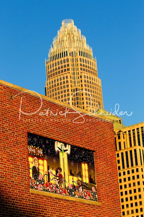 Public art murals in downtown / uptown/ Center City Charlotte, NC. Photographer has extensive portfolio of Charlotte images,