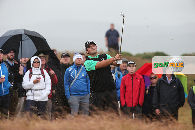 Patrick Reed (USA) in the rough up the 15th during Round Two of the 2016 Aberdeen Asset Management Scottish Open, played at Castle Stuart Golf Club, Inverness, Scotland. 08/07/2016. Picture: David Lloyd | Golffile.<br /> <br /> All photos usage must carry mandatory copyright credit (&copy; Golffile | David Lloyd)