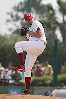 University of South Carolina Gamecocks pitcher Ethan Carter #32 pitching during the 2nd and deciding game of the NCAA Super Regional vs. the University of Coastal Carolina Chanticleers on June 13, 2010 at BB&T Coastal Field in Myrtle Beach, SC.  The Gamecocks defeated Coastal Carolina 10-9 to advance to the 2010 NCAA College World Series in Omaha, Nebraska. Photo By Robert Gurganus/Four Seam Images