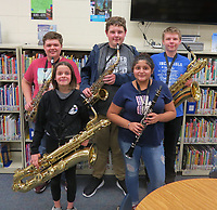 Photo Submitted<br /> Southwest City school is very proud to announce the students chosen for Junior High Southwest Missouri Honor Band. A distinguished group of students from all the schools in the Southwest Missouri area make up this band. Congratulations to (back, left) Bowen Hurley, Jacob Winkler, and Canaan Moore; (front, left), Madison Burton and Karlesa Alejandro.
