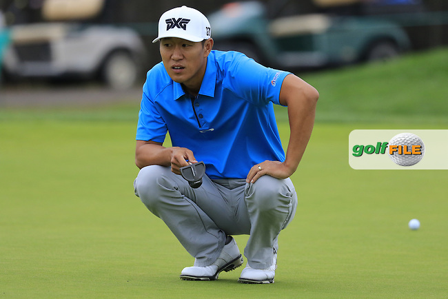 James Hahn (USA) lines up his putt on the 8th green during Friday's Round 1 of the 2016 U.S. Open Championship held at Oakmont Country Club, Oakmont, Pittsburgh, Pennsylvania, United States of America. 17th June 2016.<br /> Picture: Eoin Clarke | Golffile<br /> <br /> <br /> All photos usage must carry mandatory copyright credit (&copy; Golffile | Eoin Clarke)