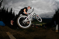 Adrian Tell. MTB slopestyle bicycle competition. The Extremesport Week, Ekstremsportveko, is the worlds largest gathering of adrenalin junkies. In the small town of Voss enthusiasts in a varitety of extreme sports come togheter every summer to compete and play. Norway..©Fredrik Naumann/Felix Features.