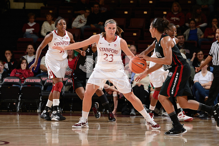 STANFORD, CA - NOVEMBER 26: Jeanette Pohlen of Stanford women's basketball on defense in a game against South Carolina on November 26, 2010 at Maples Pavilion in Stanford, California.  Stanford topped South Carolina, 70-32.