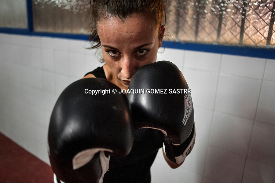 Portrait of Adriana Martin boxer in boxing club Elche.
