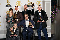 NEW YORK - JANUARY 28: Portugal the Man poses in the press room at the 60th Annual Grammy Awards at Madison Square Garden on January 28, 2018 in New York City. (Photo by Ben Hider/PictureGroup)