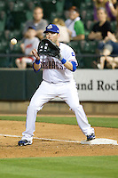 Round Rock Express first baseman Chad Tracy against the Omaha Storm Chasers in Pacific Coast League baseball on Monday April 11th, 2011 at Dell Diamond in Round Rock Texas.  (Photo by Andrew Woolley / Four Seam Images)