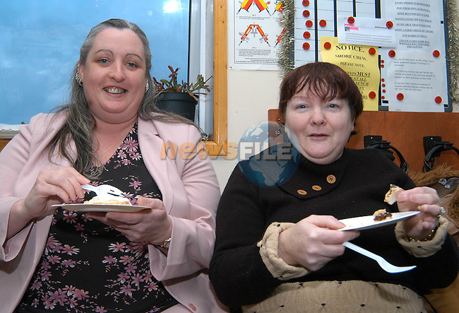 Enjoying the mince pies and mulled wine at the thankyou day in the Clogherhead lifeboat station were Noelle Hoey and Mairead Mathews from Clogherhead. Photo: Colin Bell / Newsfile