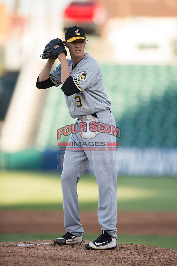 Salt Lake Bees starting pitcher Simon Mathews (3) prepares to deliver a pitch during a Pacific Coast League game against the Fresno Grizzlies at Chukchansi Park on May 14, 2018 in Fresno, California. Fresno defeated Salt Lake 4-3. (Zachary Lucy/Four Seam Images)