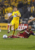 24 APRIL 2010:  Robbie Rogers of the Columbus Crew (19)  and Real Salt Lakes' Alvaro Saborio (15) during the Real Salt Lake at Columbus Crew MLS soccer game in Columbus, Ohio. Columbus Crew defeated RSL 1-0 on April 24, 2010.