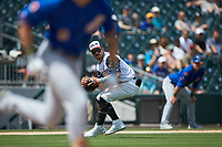 Charlotte Knights third baseman Danny Mendick (17) fields a ground ball during the game against the Durham Bulls at BB&T BallPark on May 27, 2019 in Charlotte, North Carolina. The Bulls defeated the Knights 10-0. (Brian Westerholt/Four Seam Images)