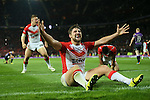 St Helens Tom Makinson celebrates at the end- First Utility Super League Grand Final - St Helens v Wigan Warriors - Old Trafford Stadium - Manchester - England - 11th October 2014 - Pic Paul Currie/Sportimage