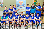 Balloonagh Primary School  Front L-r Tj Leahy, Matthew Dineen, Adam O Brien, colm Naughton, Leon Daly, Shane Elton, and Philip Evans .Back L-R Eoin Higging, Zygimants Kletk, Dean Rusk, Shane Daly, Sean Collins and Leke Duyile at the CBS Primary Hoops Tournament at John Mitchels Sports Hall on Friday