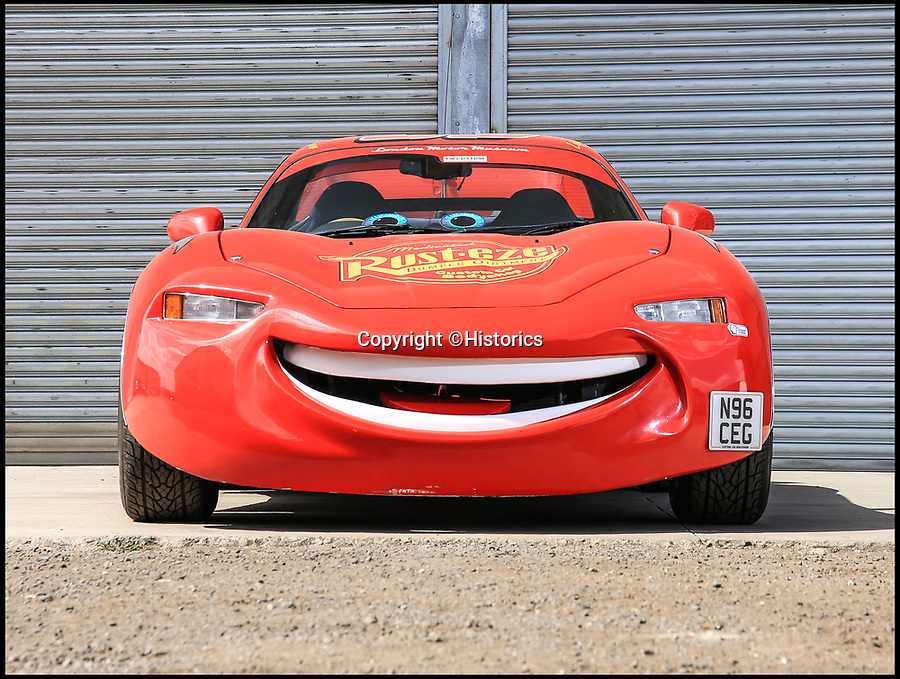 BNPS.co.uk (01202)558833Pic: Historics/BNPS<br /> <br /> Lightning McQueen from 'Cars' is up for sale up for sale for £25,000.<br /> <br /> An old Mitsubishi motor that was transformed into a stunning replica of Lightning McQueen is up fro sale for £25,000.<br /> <br /> The creation of a working version of McQueen, from the animated film franchise 'Cars', was made as part of the promotion for the first movie in 2006.<br /> <br /> The car is now being sold at Brooklands, Surrey, this weekend.