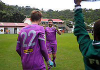Team Wellington keeper Scott Basalaj is subbed off for Marcel Kampman (22) during the 2018 OFC Champions League Quarterfinal between Team Wellington and Lae City Dwellers FC at David Farrington Park in Wellington, New Zealand on Saturday, 7 April 2018. Photo: Dave Lintott / lintottphoto.co.nz