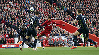 Liverpool's Joe Gomez has his shot charged down by Manchester City's Benjamin Mendy<br /> <br /> Photographer Rich Linley/CameraSport<br /> <br /> The Premier League - Liverpool v Manchester City - Sunday 7th October 2018 - Anfield - Liverpool<br /> <br /> World Copyright &copy; 2018 CameraSport. All rights reserved. 43 Linden Ave. Countesthorpe. Leicester. England. LE8 5PG - Tel: +44 (0) 116 277 4147 - admin@camerasport.com - www.camerasport.com