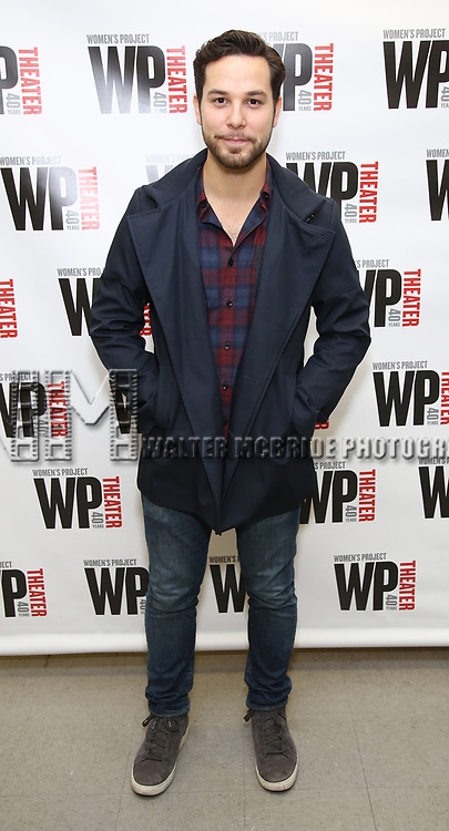 Skylar Astin attends the WP Theater production of 'What We're Up Against' Photo Calll at WP Theater Office on October 5, 2017 in New York City.