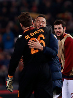 Calcio, quarti di finale di Coppa Italia: Roma vs Juventus. Roma, stadio Olimpico, 21 gennaio 2014.<br /> From left, AS Roma goalkeeper Morgan De Sanctis and forwards Francesco Totti and Mattia Destro celebrate at the end of the Italian Cup round of eight final football match between AS Roma and Juventus, at Rome's Olympic stadium, 21 January 2014. AS Roma won 1-0.<br /> UPDATE IMAGES PRESS/Isabella Bonotto