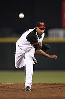 Rochester Red Wings relief pitcher Esmerling Vasquez #38 during a game against the Louisville Bats at Frontier Field on May 15, 2012 in Rochester, New York.  Rochester defeated Louisville 5-4.  (Mike Janes/Four Seam Images)