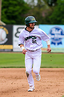 Beloit Snappers outfielder Jack Meggs (23) races to third base during a Midwest League game against the Quad Cities River Bandits on May 20, 2018 at Pohlman Field in Beloit, Wisconsin. Beloit defeated Quad Cities 3-2. (Brad Krause/Four Seam Images)