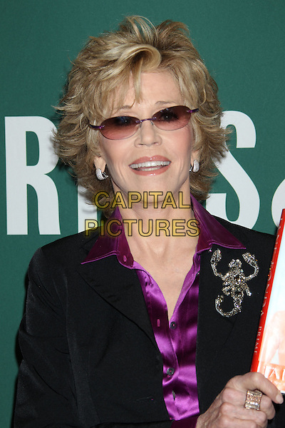 "Jane Fonda.Jane Fonda Book Signing for ""Prime Time: Love, Health, Sex, Fitness, Friendship, Spirit - Making the Most of All of Your Life."" held at Barnes & Noble, The Grove, Los Angeles, California, USA..August 15th, 2011.half length black purple silk satin shirt blouse suit jacket sunglasses shades collar gold brooch scorpion headshot portrait .CAP/ADM/RE.©Russ Elliot/AdMedia/Capital Pictures."