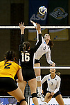 SIOUX FALLS, SD - DECEMBER 8:  Riley Hanson #5 from Concordia St. Paul looks to get a kill past Annie Boele #16 from American International during their quarterfinal match at the Women's DII Volleyball Championships at the Sanford Pentagon in Sioux Falls, SD. (Photo by Dave Eggen/Inertia)