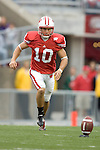 MADISON, WI - SEPTEMBER 9: Kicker Tyler Mehlhaff #10 of the Wisconsin Badgers kicks the ball against the Western Illinois Leathernecks at Camp Randall Stadium on September 9, 2006 in Madison, Wisconsin. The Badgers beat the Leathernecks 34-10. (Photo by David Stluka)