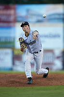 Pulaski Yankees starting pitcher Ken Waldichuk (54) delivers a pitch to the plate against the Burlington Royals at Calfee Park on August 31, 2019 in Pulaski, Virginia. The Yankees defeated the Royals 6-0. (Brian Westerholt/Four Seam Images)