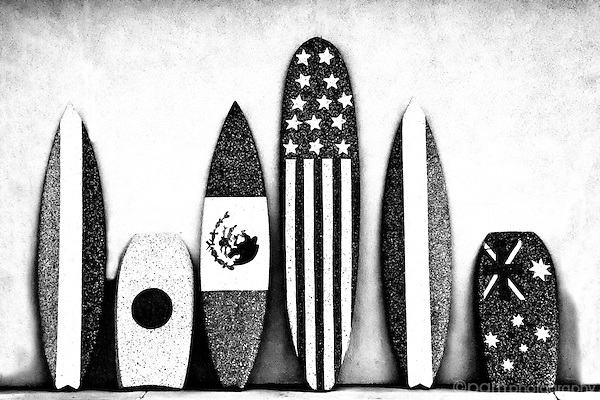 Surfboards.  Taken with infrared camera.