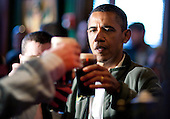 United States President Barack Obama toasts with Guinness beer as he visits a bar in celebration of St. Patrick's day at the Dubliner Restaurant and Pub on March 17, 2012 in Washington, DC. Next week, Obama and Vice President Biden will meet the Irish Prime Minister Enda Kenny and attend a St. Patrick's Day lunch at the Capitol..Credit: Joshua Roberts / Pool via CNP