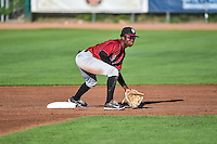 Idaho Falls Chukars second baseman D.J. Burt (1) fields the throw against the Ogden Raptors in Pioneer League action at Lindquist Field on August 27, 2015 in Ogden, Utah. Ogden defeated the Chukars 4-3.  (Stephen Smith/Four Seam Images)