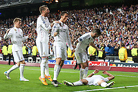 Real Madrid´s Mexican forward Chicharito celebrating after scoring