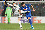 Getafe CF's Leandro Cabrera (r) and FC Krasnodar's Marcus Berg during UEFA Europa League match. December 12,2019. (ALTERPHOTOS/Acero)