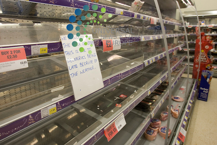 Signs at a food superstore in the West of Scotland showing the impact of the weather on food stocks in Scotland..Snow and ice on much of Scotland's road network has caused disruption to fuel, food and some medical supplies..Picture:Universal News And Sport (Europe) .9 December 2010...