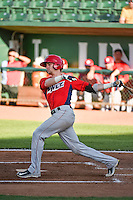 Taylor Ward (6) of the Orem Owlz at bat against the Ogden Raptors in Pioneer League action at Lindquist Field on June 18, 2015 in Ogden, Utah. This was Opening Night play of the 2015 Pioneer League season.   (Stephen Smith/Four Seam Images)