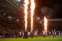 Picture by Allan McKenzie/SWpix.com - 08/02/2018 - Rugby League - Betfred Super League - Leeds Rhinos v Hull KR - Elland Road, Leeds, England - Pyros, Leeds and Hull KR come out to play.