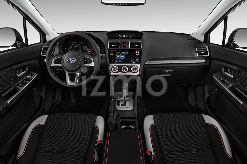 Stock photo of straight dashboard view of 2017 Subaru Crosstrek 2.0i Premium CVT 5 Door SUV Dashboard