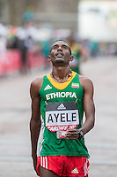Abayneh Ayele looks dejected after finishing fourth in the IAAF World Half Marathon Championships 2016 in Cardiff, Wales on 26 March 2016. Photo by Mark  Hawkins / PRiME Media Images.