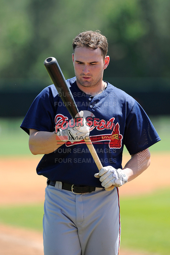Outfielder Matt Lipka (57) of the Atlanta Braves farm system in a Minor League Spring Training workout on Monday, March 16, 2015, at the ESPN Wide World of Sports Complex in Lake Buena Vista, Florida. (Tom Priddy/Four Seam Images)