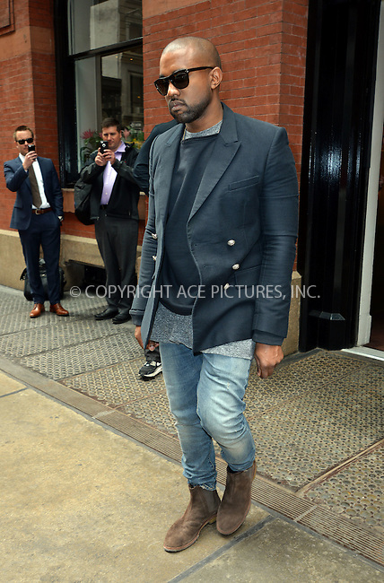 WWW.ACEPIXS.COM<br /> <br /> May 6 2014, New York City<br /> <br /> Singer Kanye West leaves a Soho hotel on May 6 2014 in New York City<br /> <br /> By Line: Curtis Means/ACE Pictures<br /> <br /> <br /> ACE Pictures, Inc.<br /> tel: 646 769 0430<br /> Email: info@acepixs.com<br /> www.acepixs.com