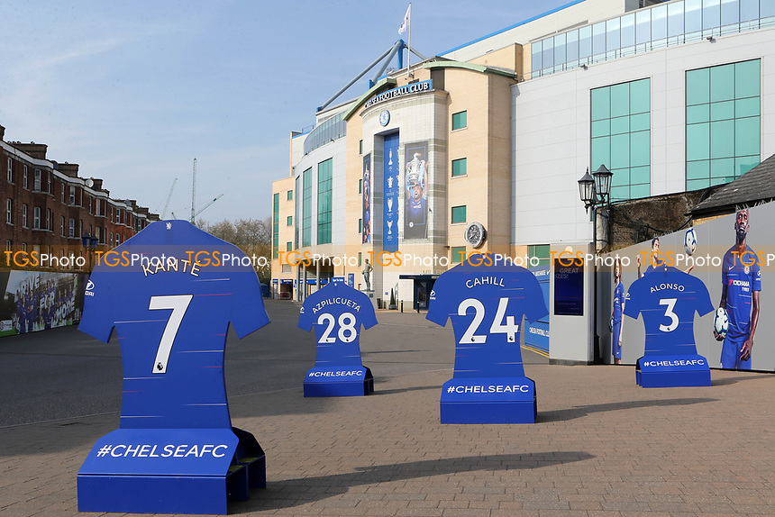 General view of the entrance to Chelsea FC currently featuring stands showing the shirt numbers of N'Golo Kante, Cesar Azpilicueta, Gary Cahill and Marcos Alonso during Chelsea Under-23 vs Arsenal Under-23, Premier League 2 Football at Stamford Bridge on 15th April 2019