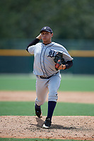 GCL Tigers West relief pitcher Angel Reyes (34) delivers a pitch during a game against the GCL Pirates on August 13, 2018 at Pirate City Complex in Bradenton, Florida.  GCL Tigers West defeated GCL Pirates 5-1.  (Mike Janes/Four Seam Images)