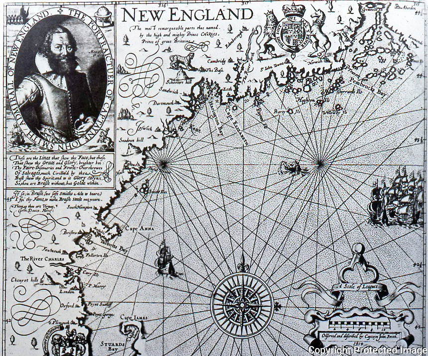 """Maps:  Map of John Smith's New England, 1614.  """"Plimouth"""", """"Cape Anna"""" & """"River Charles"""" correspond to present locations."""
