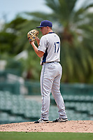 GCL Rays relief pitcher Paul Campbell (17) looks in for the sign during a game against the GCL Orioles on July 21, 2017 at Ed Smith Stadium in Sarasota, Florida.  GCL Orioles defeated the GCL Rays 9-0.  (Mike Janes/Four Seam Images)